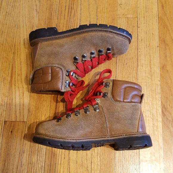 Vintage Suede Hiking Boots Red Laces